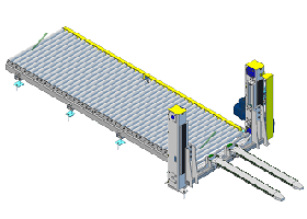 Przemiennik palet wprowadzający pakiet na przenośnik
